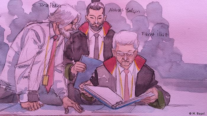 Zeichnung/Gerichtsbild von Cumhuriyet-Prozess in der Türkei (M. Başol.)