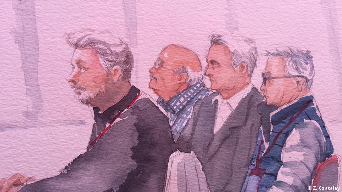 Zeichnung/Gerichtsbilder von Cumhuriyet Prozesss in der Türkei (Z. Özatalay)