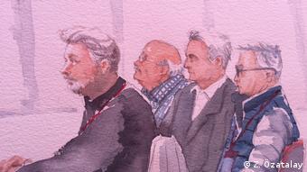 Zeichnung/Gerichtsbilder von Cumhuriyet Prozesss in der Türkei