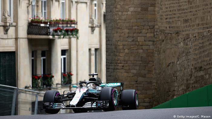 Lewis Hamilton driving his Mercedes during final practice for the Azerbaijan Formula One Grand Prix at Baku City Circuit on April 28, 2018 in Baku, Azerbaijan. (Getty Images/C. Mason)