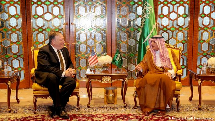 Mike Pompeo meets Saudi Foreign Minister Adel Al-Jubeir (Reuters/Saudi Press Agency)