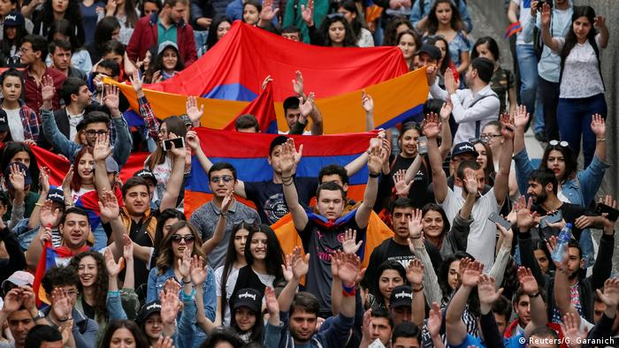 Protests in Armenia supporting Nikol Pashinian for prime minister
