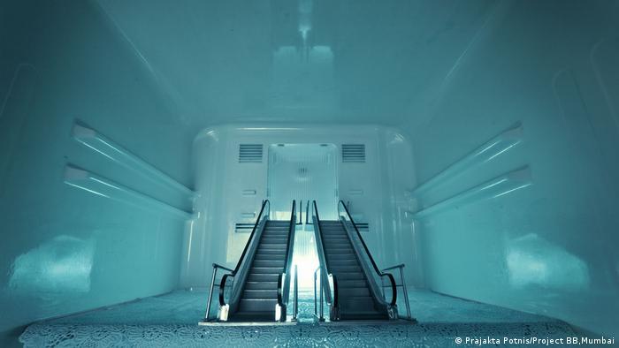 inside of a fridge with 2 escalators (Prajakta Potnis/Project BB,Mumbai)