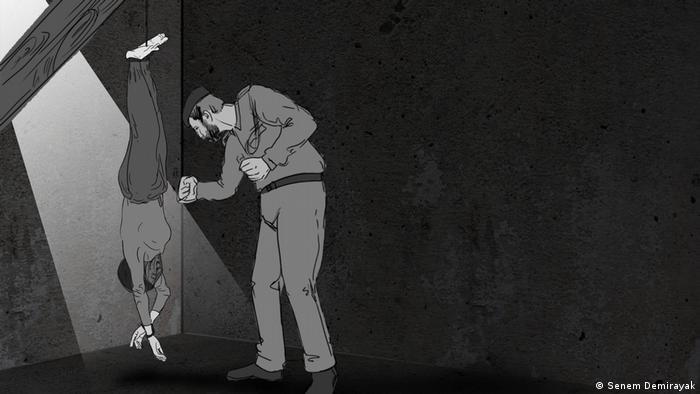 Ilustração reproduz memória da prisão: Vou deixá-la pendurada no teto até que todos os seus maus pensamentos caiam nessa sacola
