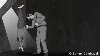 Σκίτσο βασανισμού γυναικών σε φυλακές της Συρίας όπως το περιέγραψαν θύματα