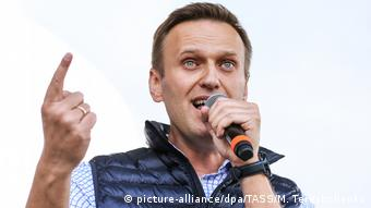 Opposition activist Alexei Navalny addresses a rally for 'free Internet' and in support of the Telegram Messenger in Akademika Sakharova Avenue