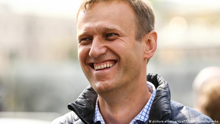 Алексей Навальный на акции протеста на проспекте Сахарова в Москве