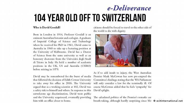 Screenshot Website Exitinternational über David Goodall