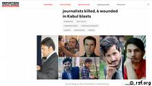 Screenshot Reporter ohne Grenzen in Afghanistan getötete Journalisten