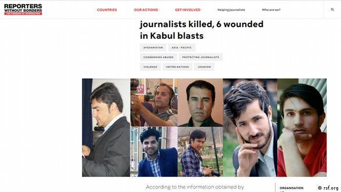 Screenshot Reporter ohne Grenzen in Afghanistan getötete Journalisten (rsf.org)