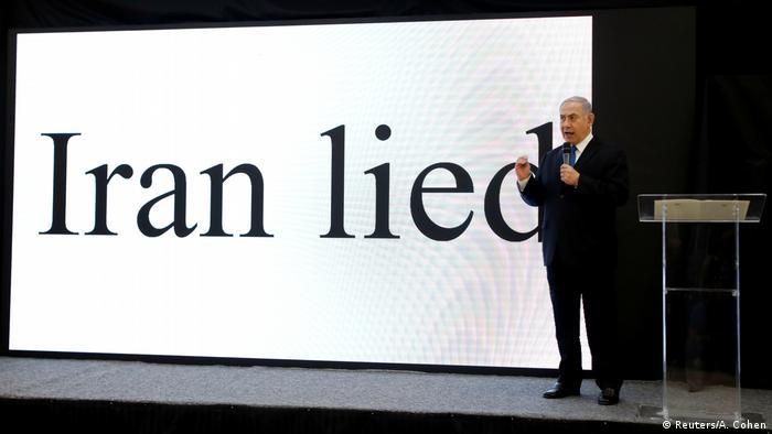 Benjamin Netanjahu mit seiner Präsentation Israel - Iran Sicherheit Verteidigung