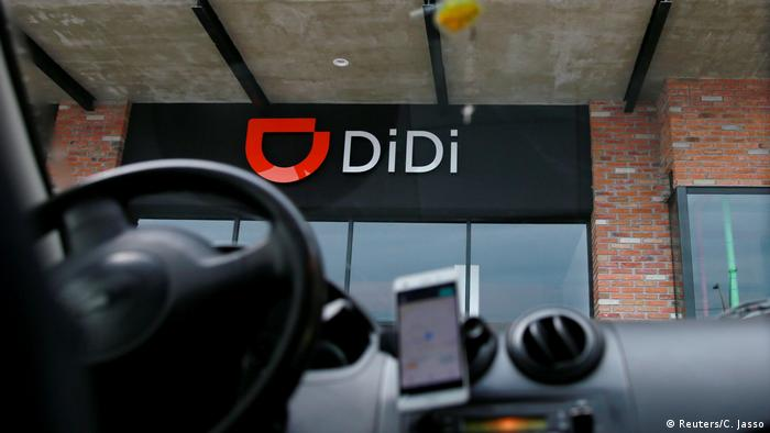 The DiDi logo seen through a car windshield (Reuters/C. Jasso)