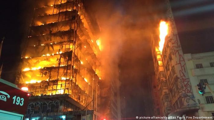 Incêndio levou ao desabamento do edifício localizado no Largo do Paissandu