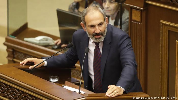 Armenia's Nikol Pashinian, speaking in parliament