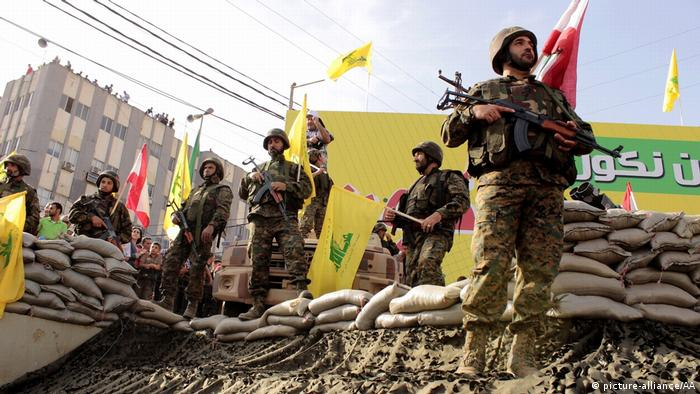 Members of the Hezbollah movement in the southern town of Nabatieh in Lebanon