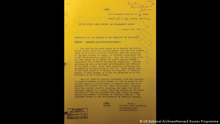 Geheimes deutsches C-Waffenprogramm in den 60-er Jahren (US National Archives/Harvard Sussex Programme)