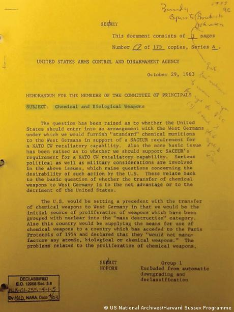 US documents in 1963 on West Germany's request for chemical weapons (US National Archives/Harvard Sussex Programme)