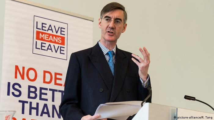 Großbritannien, London: Jacob Rees Mogg hält eine Brexit Rede (picture-alliance/R. Tang)