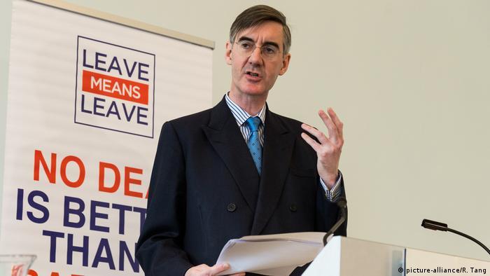 Großbritannien, London: Jacob Rees Mogg hält eine Brexit Rede
