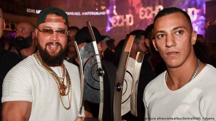 Rappers Kollegah (l) and Farid Bang