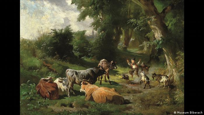Пастушонок со стадом на краю леса. Антон Брайт