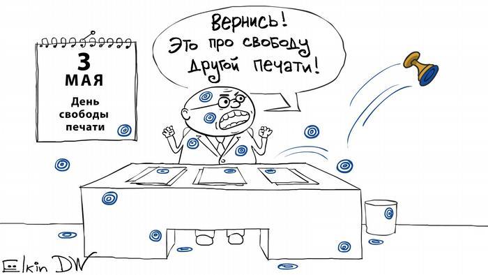 Карикатура Сергея Елкина на тему свободы печати в России