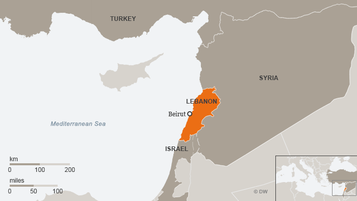 A map of Lebanon and neighboring countries