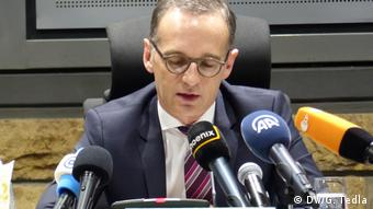 Maas talks to the media in Addis Ababa