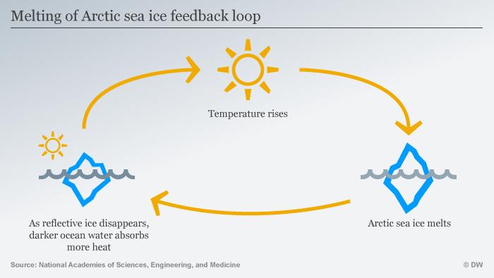 Infografik Melting of Arctic sea ice feedback loop ENG