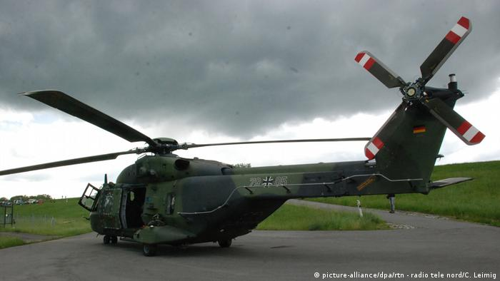 Bundeswehr NH90 transport helicopter on a landing strip