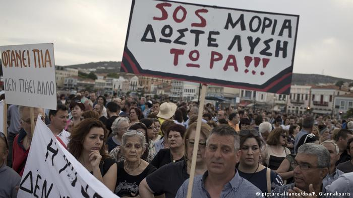 Protest on Lesbos island (picture-alliance/dpa/P. Giannakouris)