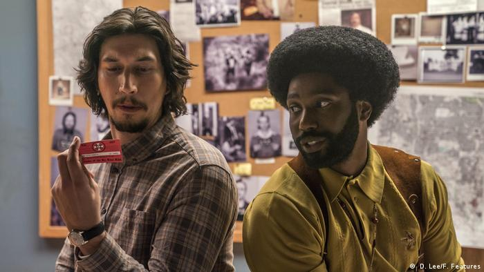 Two men in a film still from 'BlacKkKlansman' by Spike Lee (USA) ( D. Lee/F. Features)