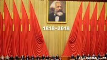 04.05.2018+++ Chinese President Xi Jinping and other officials sing the national anthem at an event commemorating the 200th birth anniversary of Karl Marx, in Beijing, China May 4, 2018. REUTERS/Jason Lee