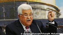 Palestinian President Mahmoud Abbas speaks during a meeting of the Palestinian National Council at his headquaters in the West Bank city of Ramallah, Monday, April 30, 2018. (AP Photo/Majdi Mohammed) |