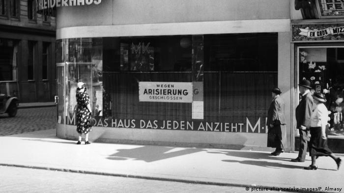 A shop window in Klagenfurt in 1938 highlights the persecution of Jews in Austria