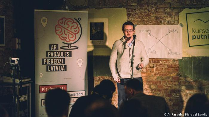 Janis Kreilis of Ar Pasaules Pieredzi Latvija at an event in Liepaja, Latvia