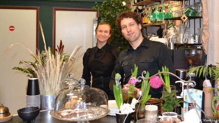 Alina Amberlanda and Arthur Kuznetsov in their café in Liepaja, Latvia