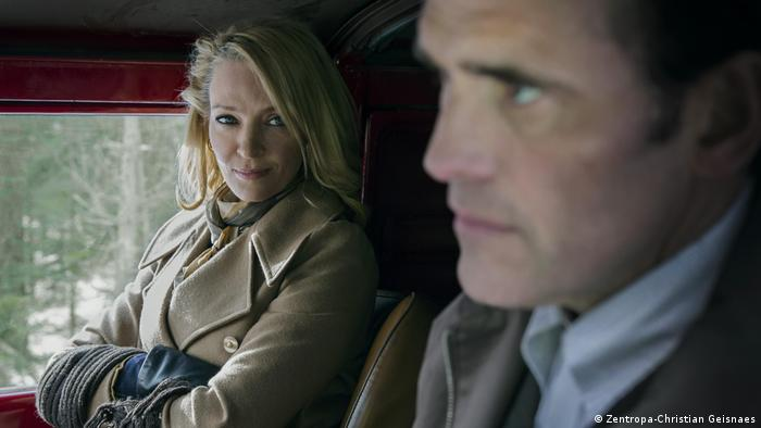 A couple in a car talking in a film still from The House That Jack Built (Zentropa-Christian Geisnaes)