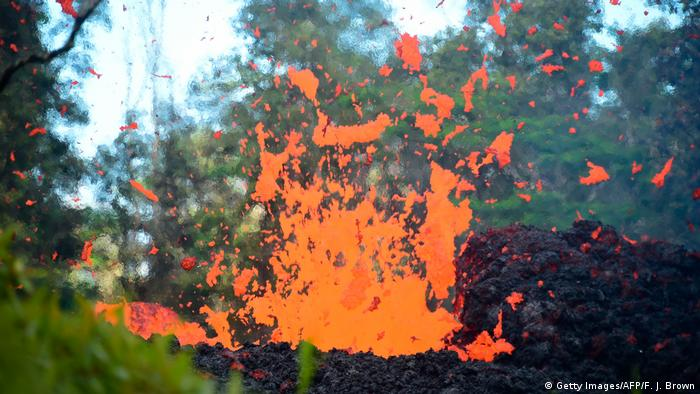 Lava is seen coming from a fissure in Leilani Estates subdivision on Hawaii's Big Island.