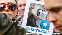 Demonstration in Moskau Internet Telegram Messenger