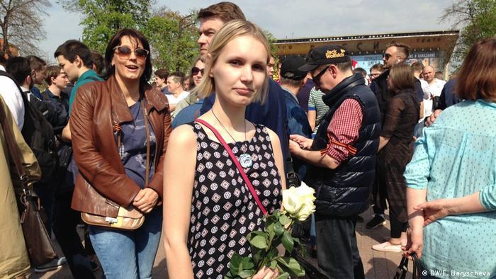 Участница митинга Он нам не царь в Москве Дарья.