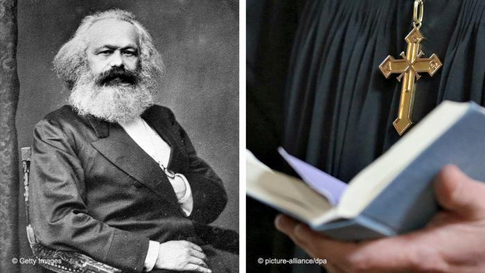 Bildkombo Karl Marx und Religion