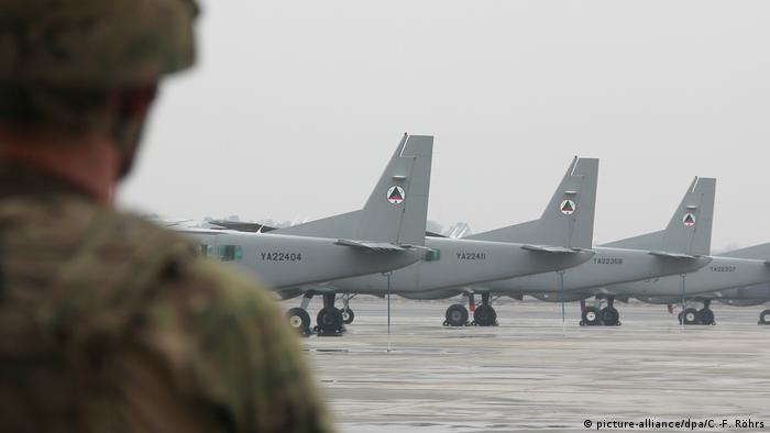 Afghanistan military planes at an airport