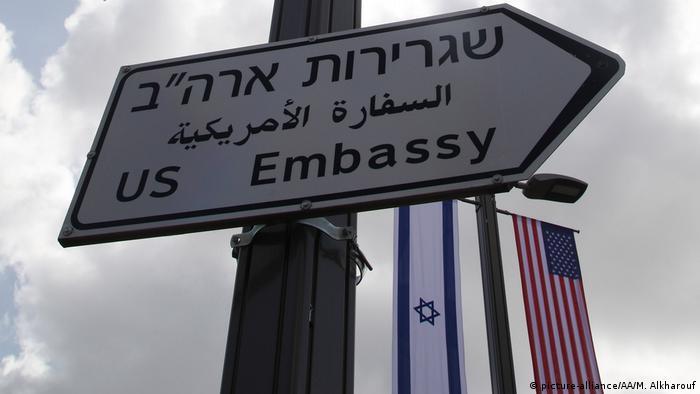 Israel Jerusalem Schild zur neuen US Botschaft