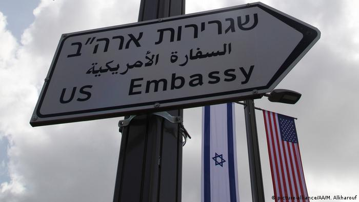 A sign post pointing to the new US Embassy in Jerusalem