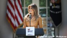 07.05.2018 WASHINGTON, DC - MAY 07: U.S. first lady Melania Trump speaks in the Rose Garden of the White House May 7, 2018 in Washington, DC. Trump outlined her new initiatives, known as the Be Best program, during the event. (Photo by Win McNamee/Getty Images)