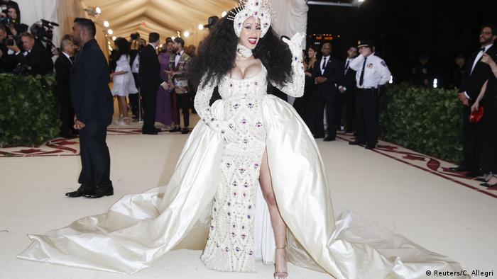 Cardi B in a white gown (Reuters/C. Allegri)