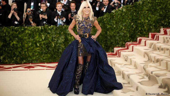 Donatella Versace at the Met Gala in a blue gown