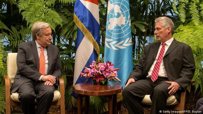 Kuba UN Generalsekretär Antonio Guterres und Präsident Miguel Diaz-Canel (Getty Images/AFP/D. Boylan)