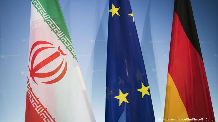 German, EU and Iranian flags